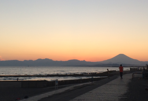 鵠沼海岸夕陽2