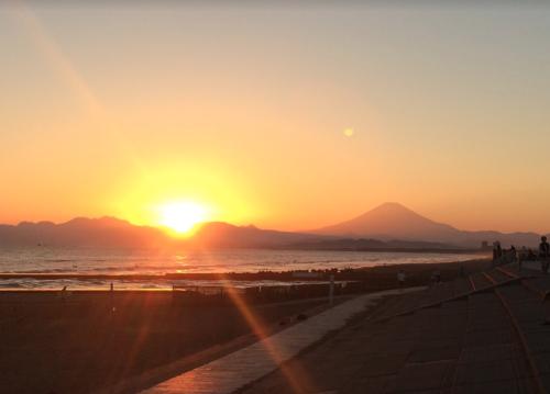 鵠沼海岸夕陽3
